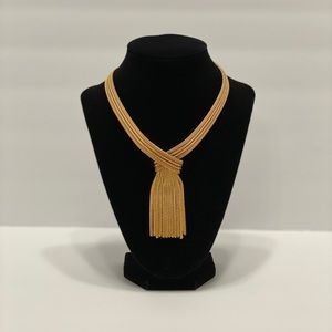 Vintage Napier Gold Tone Tassel Necklace